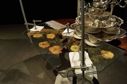 """Detail of """"Tea Table Reconfigured Into a Press to Preserve a Bouquet of Chrysanthemums"""" by Jon Sasaki - COURTESY OF JON SASAKI"""