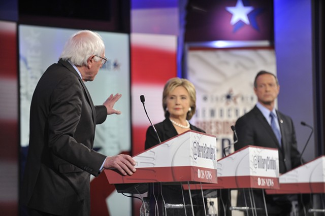 Bernie Sanders, Hillary Clinton and Martin O'Malley at the Drake University debate in Des Moines - CHRIS USHER/CBS © 2015 CBS TELEVISION NETWORK