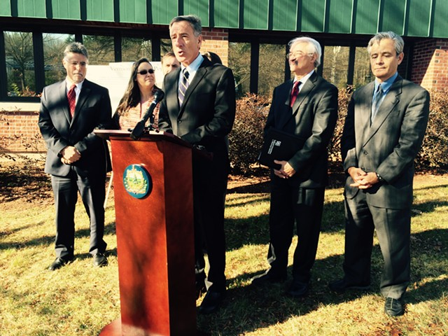 Gov. Peter Shumlin at a press conference in South Burlington on Monday - MARK DAVIS