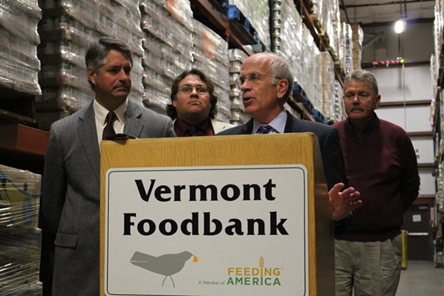 Vermont Public Interest Research Group executive director Paul Burns, Sierra Club Vermont conservation program manager Robb Kidd, Congressman Peter Welch and dairy farmer Bill Rowell - PAUL HEINTZ