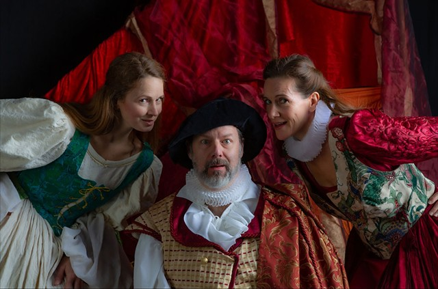 From left: Sorsha Anderson, John Nagle and Chloe Fidler in The Merry Wives of Windsor - COURTESY OF DOK WRIGHT