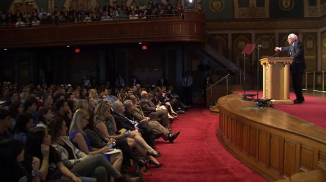Sen. Bernie Sanders addresses students, reporters and supporters Thursday at Georgetown University's Gaston Hall - GEORGETOWN UNIVERSITY
