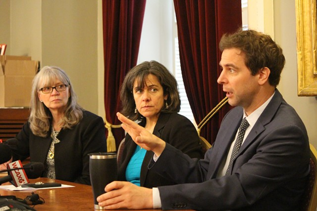 Rep. Patty McCoy, House Speaker Mitzi Johnson and Senate President Pro Tempore Tim Ashe at the Statehouse earlier this year - FILE: PAUL HEINTZ