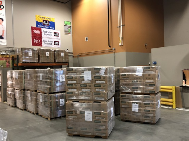 Pallets of MREs in the Barre warehouse of the Vermont Foodbank - COURTESY OF VERMONT FOODBANK