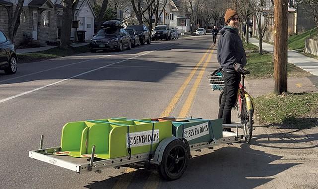 Circulation deputy Jeff Baron testing out a DIY bike trailer prototype - REV. DIANE SULLIVAN