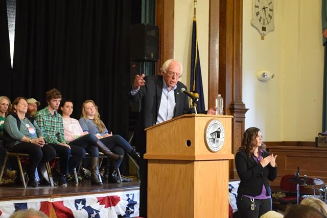 Sen. Bernie Sanders campaigns in New Hampshire this fall. - TERRI HALLENBECK
