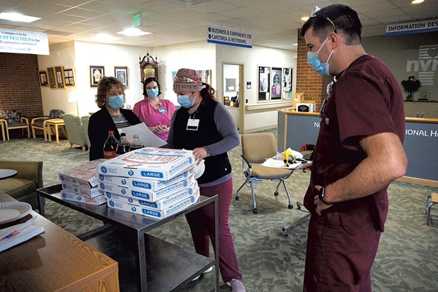 Pizza delivered via Meal Train at Northeastern Vermont Regional Hospital - COURTESY OF NORTHEASTERN VERMONT REGIONAL HOSPITAL