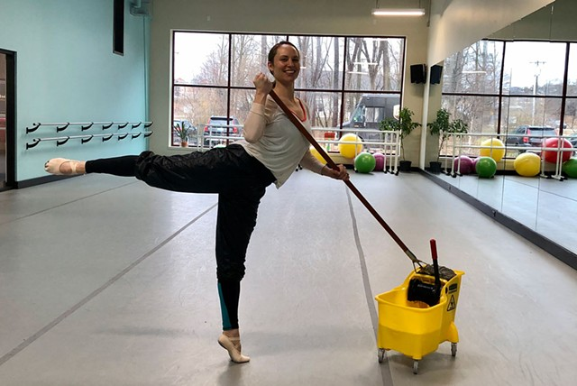 Megan Stearns deep-cleaning Lines Studio - COURTESY OF JUNE BUECHNER CARNEY