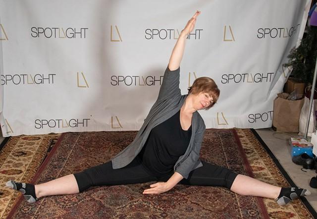 Jen Barden teaching an online dance class from her basement - COURTESY OF TIM BARDEN