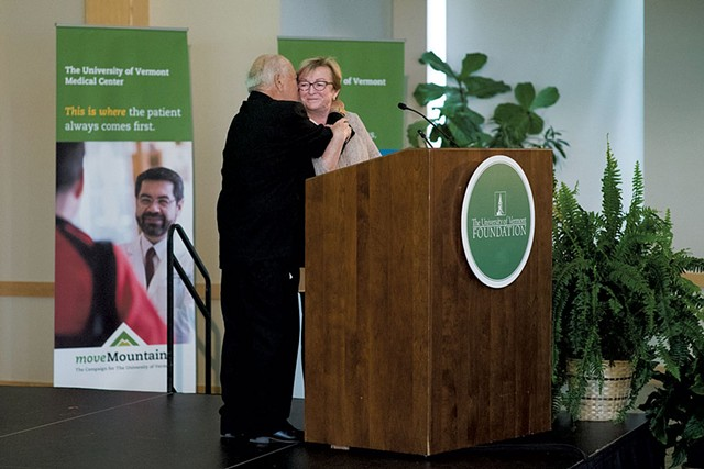 Bobby and Holly receiving the 2018 Lifetime Achievement in Philanthropy Award from the UVM Alumni Association - COURTESY OF STEPHANIE MILLER TAYLOR