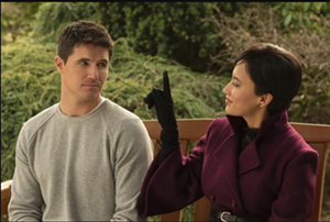 """Nathan (Robbie Amell) and Nora (Andy Allo) in """"Upload"""" - KATIE YU"""