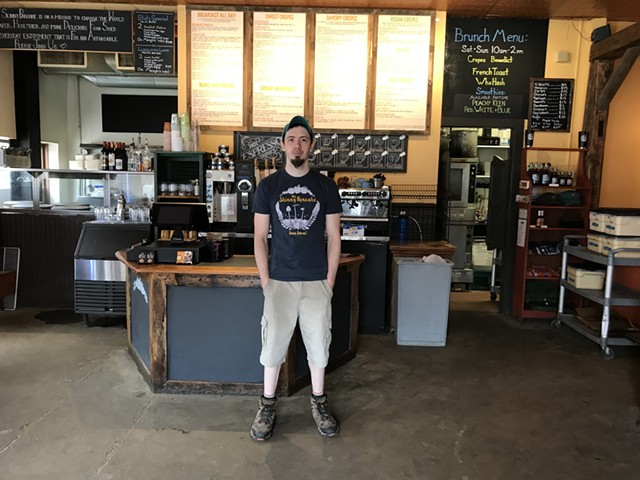 Chris Morris, kitchen manager of the Skinny Pancake in Montpelier - SALLY POLLAK