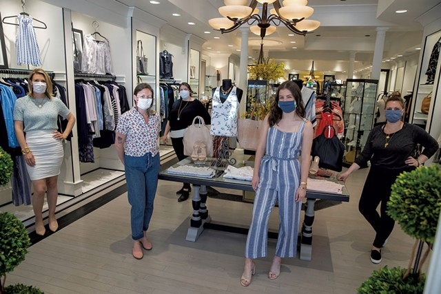From left: Alexis Pomerleau, Shannon Kamnick, Samantha Sleeper, Amelia Frederick and Erin Brennan inside Jess Boutique - JAMES BUCK