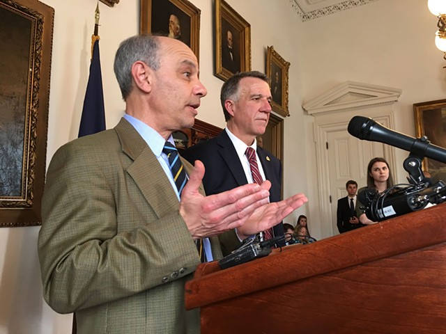 Finance Commissioner Adam Greshin and Gov. Phil Scott - FILE: JOHN WALTERS