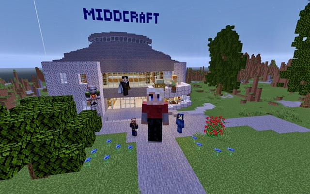 MiddCraft creators and builders, in digital form, posing on their Minecraft campus - COURTESY OF MIDDCRAFT