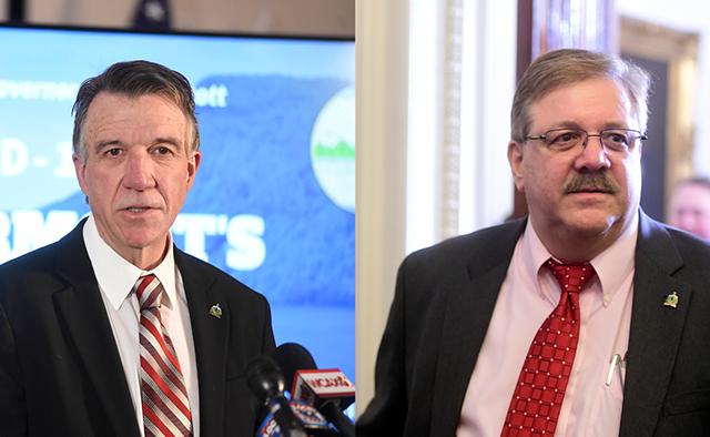 Gov. Phil Scott (left) and Secretary of State Jim Condos - FILE