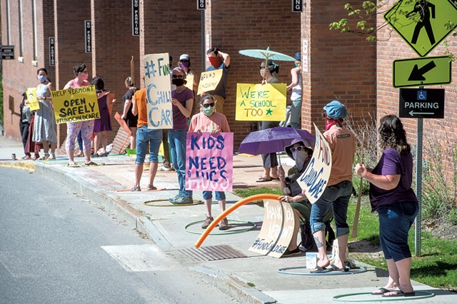 Childcare professionals demonstrating outside the Pavilion Building in Montpelier - JEB WALLACE-BRODEUR