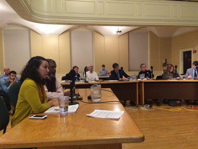 From left, Kesha Ram of CEDO and Curtiss Reed of the Vermont Partnership addressing the city council - ALICIA FREESE