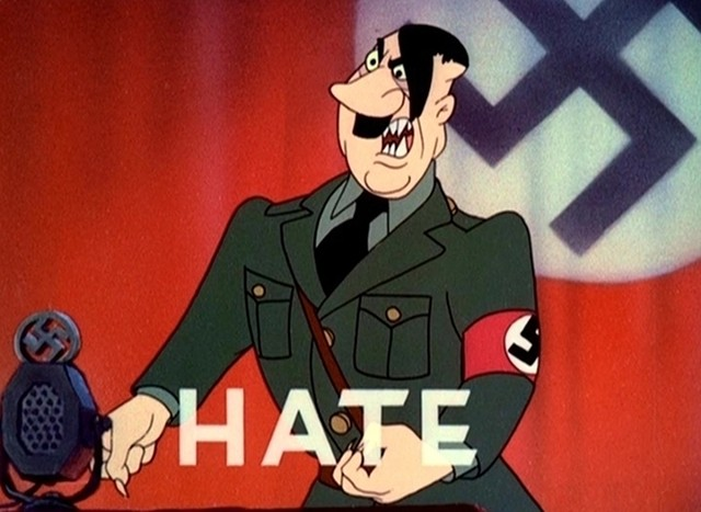 An animated Adolf Hitler stirring up hateful emotions. - WALT DISNEY PICTURES