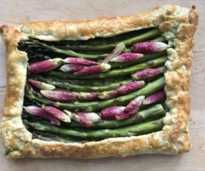 Asparagus-radish tart with radish-top pesto - JORDAN BARRY