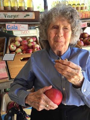 Jane Denker on her 99th birthday, enjoying a visit to Shelburne Orchards