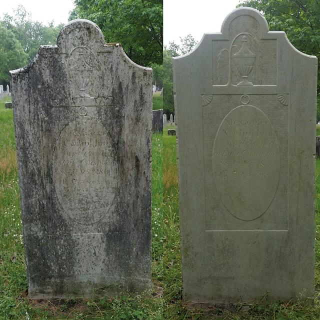 A cleaned headstone dating back to 1800 - COURTESY OF JASON STUFFLE