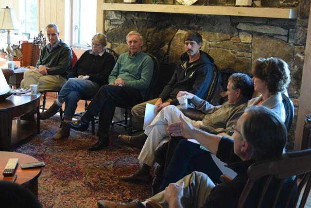 Senate Majority Leader Phil Baruth (D-Chittenden), right, leads the discussion Saturday. - TERRI HALLENBECK