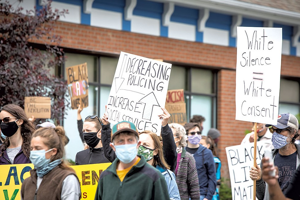 Protesters marching Saturday in Colchester - LUKE AWTRY