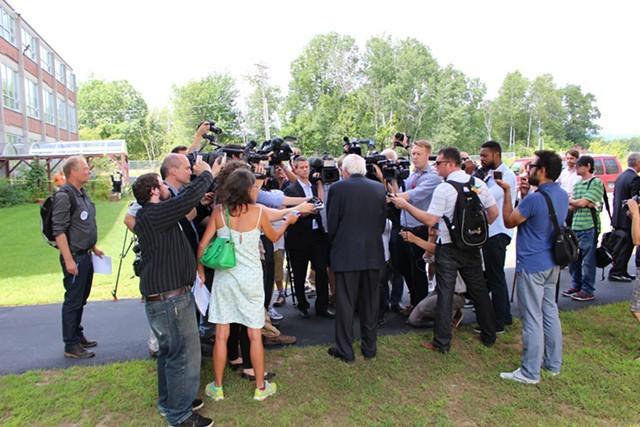 Sen. Bernie Sanders addresses the national media in New Hampshire in August. - FILE: PAUL HEINTZ