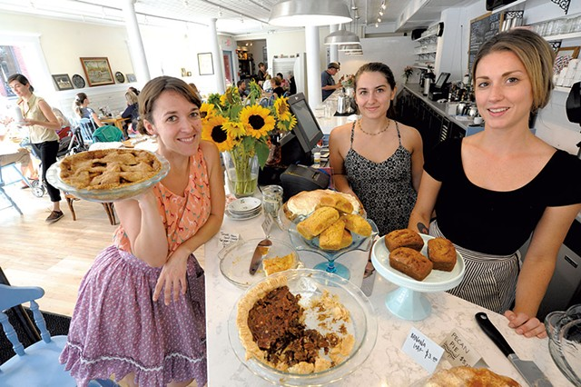 Down Home Kitchen owner Mary Alice Proffitt, left, with  staff members Louisa Franco and Lindsey Brownson - JEB WALLACE-BRODEUR