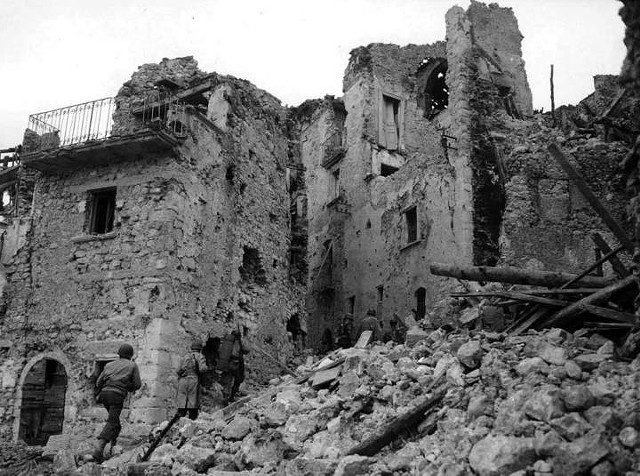 The ruins of the titular village in The Battle of San Pietro - U.S. WAR DEPARTMENT