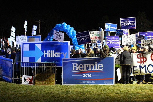 Democratic activists outside the Saint Anselm College presidential debate - PAUL HEINTZ