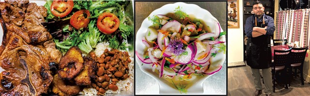 Cuban-style pork chops with sweet plantains, rice and beans,fresh cod ceviche, Josue Chanduvi - COURTESY OF GRANDMA'S SPANISH KITCHEN