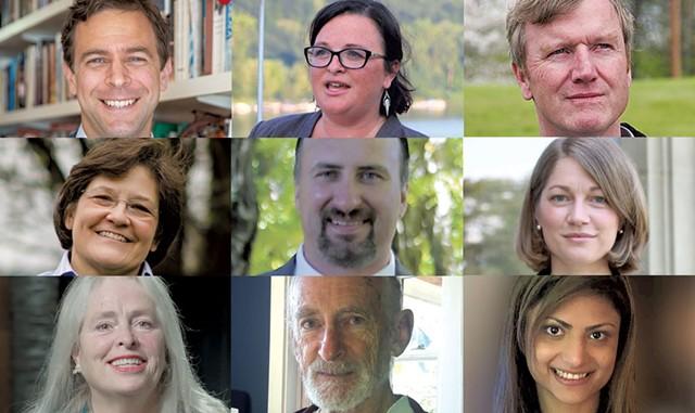 Tim Ashe (D), Brenda Siegel (D), Scott Milne (R), Debbie Ingram (D), Dana Colson Jr. (R), Molly Gray (D), Cris Ericson (P), Jim Hogue (R), Meg Hansen (R) - COURTESY IMAGES