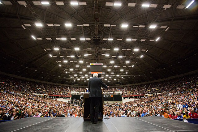 Sen. Bernie Sanders campaigns in July in Madison, Wisconsin - ERIC TADSEN