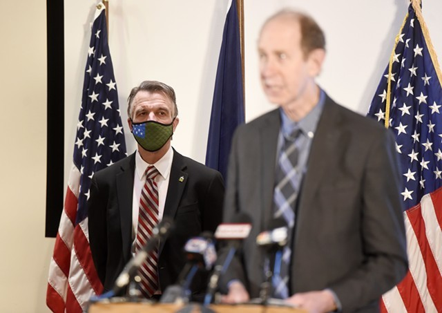 Gov. Phil Scott and Health Commissioner Mark Levine at a recent press briefing - FILE: JEB WALLACE-BRODEUR ©️ SEVEN DAYS