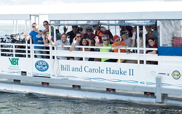 Riders aboard the bike ferry - COURTESY OF LOCAL MOTION