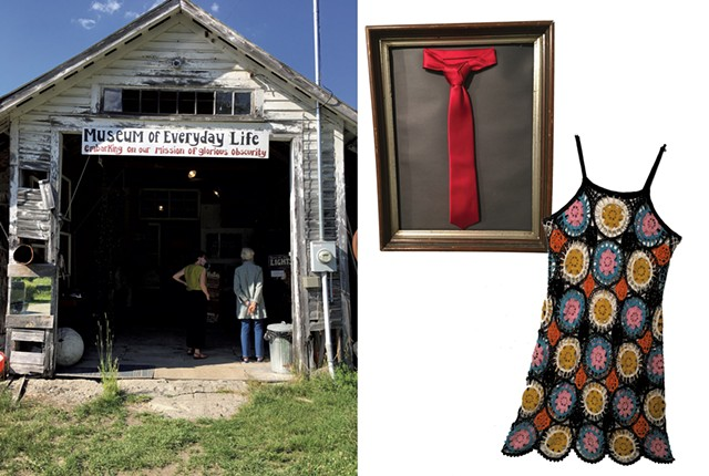 The Museum of Everyday Life and a few of its items: a tie and a granny-square crocheted dress - PAMELA POLSTON ©️ SEVEN DAYS