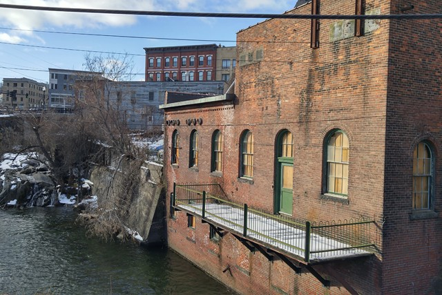 View of the Arch Street Building along Whetstone Brook - COURTESY OF BRATTLEBORO MUSEUM & ART CENTER