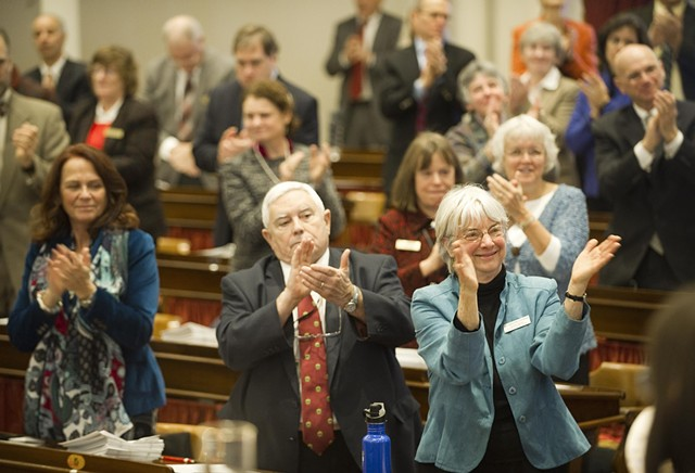 Members of the Vermont House return to Montpelier - JEB WALLACE-BRODEUR