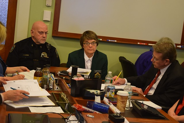 Capitol Police Chief Les Dimick and Sergeant at Arms Janet Miller brief a committee on security precautions in the Statehouse. - TERRI HALLENBECK