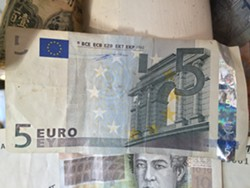 The original five-Euro bill from Kevin Myers - RACHEL ELIZABETH JONES