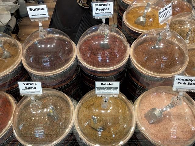 Spice bins at Little Istanbul - PAMELA POLSTON ©️ SEVEN DAYS