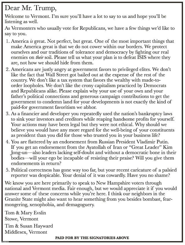 Ad in Thursday's Burlington Free Press questioning Donald Trump.