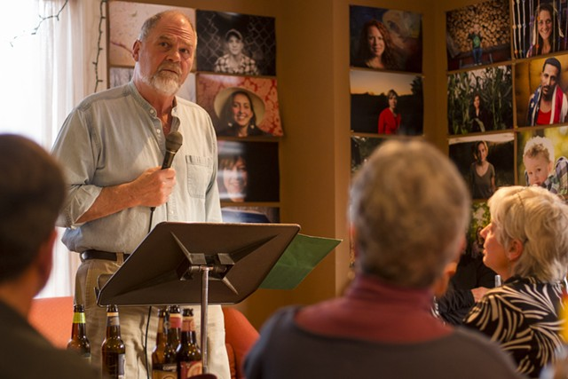 Sydney Lea reads at Three Bean Café during PoemTown Randolph last year. - COURTESY OF TIM CALABRO