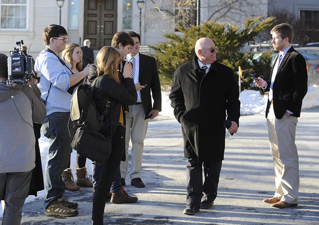 Sen. Norm McAllister smiles at a reporter as he walked to his truck. - JEB WALLACE-BRODEUR