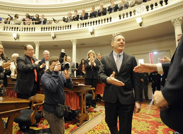 Gov. Peter Shumlin arrives for his State of the State address Thursday. - JEB WALLACE-BRODEUR