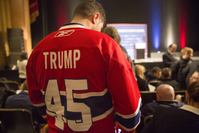 Trump supporter Chris Lazaris of Montreal at the Flynn - JAMES BUCK