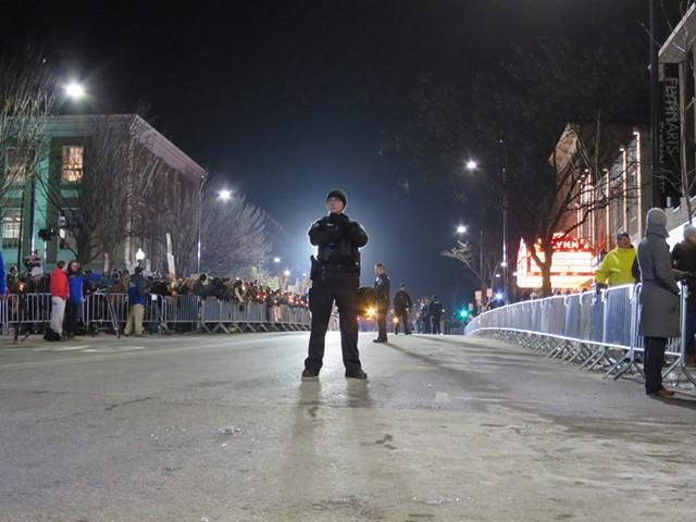 A Burlington Police Department officer on Main Street