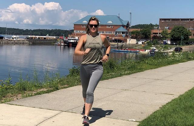Katie Spotz finishing her run to the Burlington waterfront - COURTESY OF KATIE SPOTZ